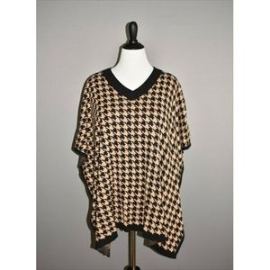 TALBOTS Houndstooth Pullover Poncho Sweater